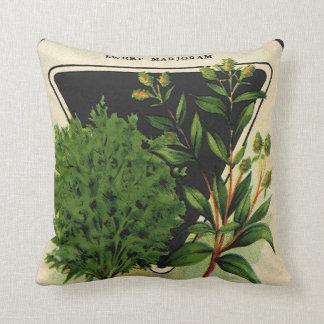 Vintage Seed Packet Label Art Sweet Marjoram Herbs Throw Pillow