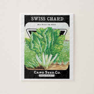 Vintage Seed Packet Label Art, Swiss Chard Veggies Puzzles