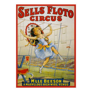 Vintage Sells Floto Circus High Wire Performance Poster