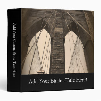 Vintage Sepia Brooklyn Bridge 3 Ring Binder