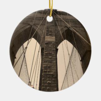 Vintage Sepia Brooklyn Bridge Ceramic Ornament