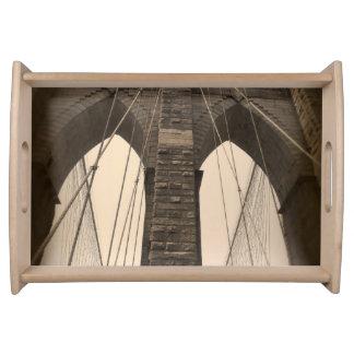 Vintage Sepia Brooklyn Bridge New York Serving Tray