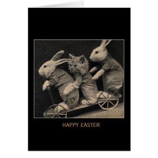 Vintage Sepia Bunnies & Kitten Easter Card