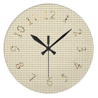 Vintage-Sepia--Decor-Gold-Diamond-Clocks Large Clock