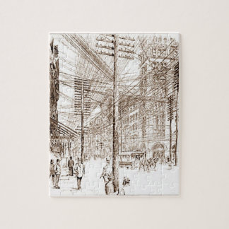 Vintage Sepia Etching Utility Lines Jigsaw Puzzle