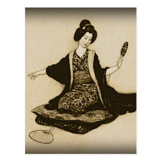Vintage Sepia Japanese geisha looking with mirror Postcard