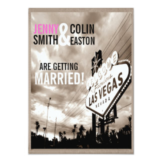 Vintage Sepia Las Vegas Modern Wedding Invites Personalized Invites