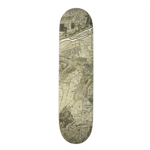 Vintage Sepia Map of Paris, France Skate Board