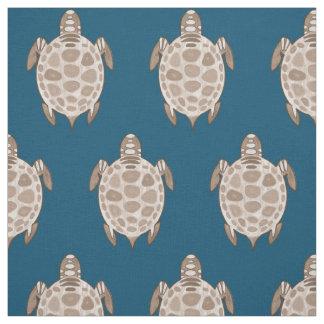 Vintage sepia on blue turtles pattern fabric