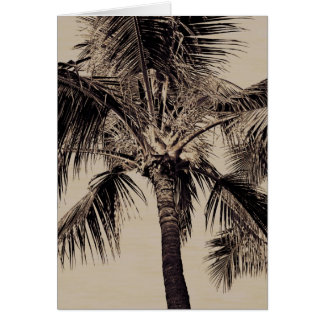Vintage Sepia Retro Hawaiian Palm Tree Template