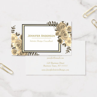 Vintage Sepia Rose Floral Business Card
