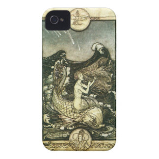 VINTAGE SEPIA TONE MERMAID OCEAN PRINT Case-Mate iPhone 4 CASES