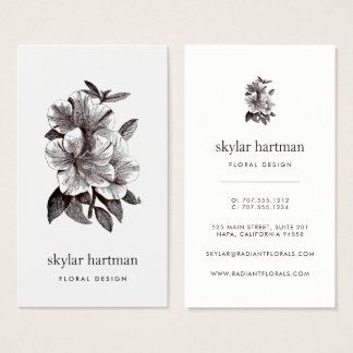Vintage Sepia Tone Orchid | Vertical Floral Business Card