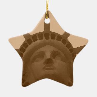 Vintage Sepia Tone Statue of Liberty Ceramic Star Ornament