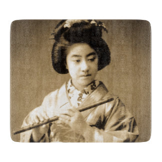 Vintage Sepia Toned Japanese Geisha Playing Flute Cutting Board