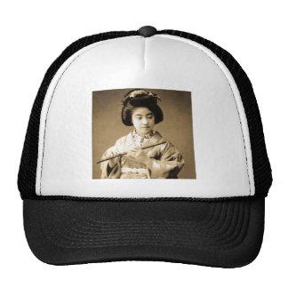 Vintage Sepia Toned Japanese Geisha Playing Flute Trucker Hat