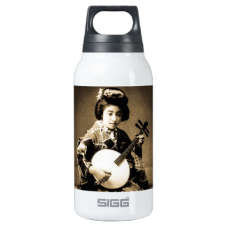 Vintage Sepia Toned Japanese Geisha Playing Gekkin Insulated Water Bottle
