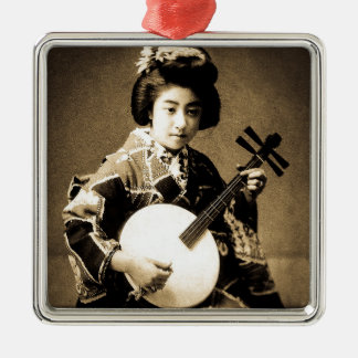 Vintage Sepia Toned Japanese Geisha Playing Gekkin Silver-Colored Square Ornament