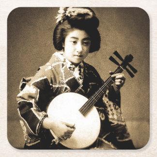 Vintage Sepia Toned Japanese Geisha Playing Gekkin Square Paper Coaster