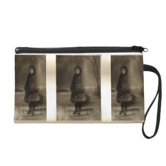 Vintage Sepia Victorian Girl with Sled in Winter Wristlets