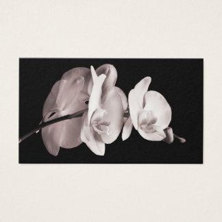 Vintage Sepia White & Cream Dendrobium Orchid Business Card