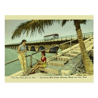 Vintage Seven Mile Bridge Florida Postcard