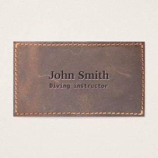 Vintage Sewed Leather Diving Business Card