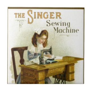 Vintage Sewing Machine Ad w/ Girl Tile