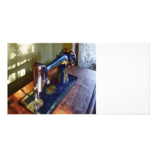 Vintage Sewing Machine and Shadow Customized Photo Card