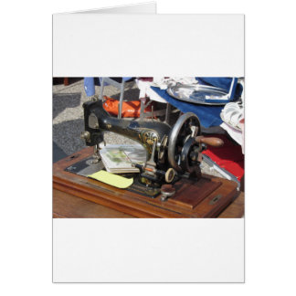 Vintage sewing machine at flea market card