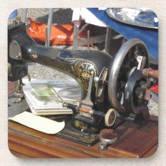 Vintage sewing machine at flea market coaster