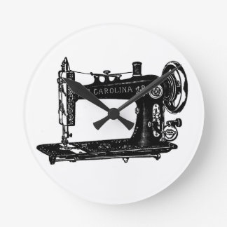 Vintage Sewing Machine Black and White Round Clock