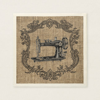 Vintage Sewing Machine Burlap Disposable Napkin