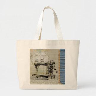 Vintage Sewing Machine Large Tote Bag