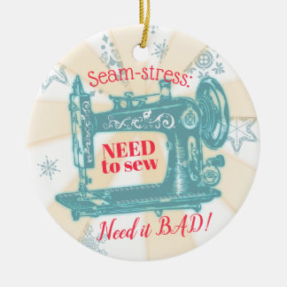Vintage sewing machine quilter Christmas ornament