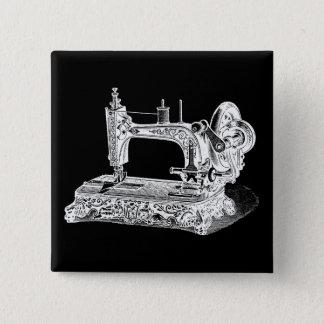 Vintage Sewing Machine Retro Machines White Black 2 Inch Square Button