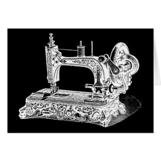 Vintage Sewing Machine Retro Machines White Black Card
