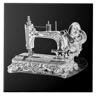 Vintage Sewing Machine Retro Machines White Black Tile