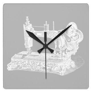 Vintage Sewing Machine - Retro Machines White Gray Square Wall Clock