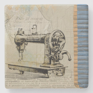 Vintage Sewing Machine Stone Coaster
