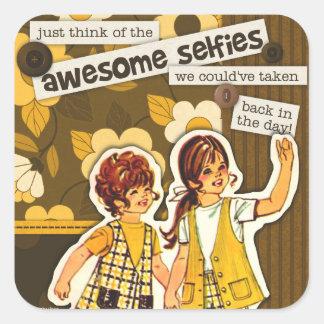 """""""Vintage Sewing Pattern Art"""" Selfie Stickers"""
