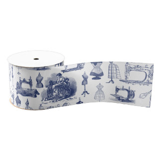 Vintage Sewing Toile Grosgrain Ribbon