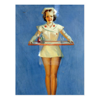 Vintage Sexy Nurse Uniform Postcard