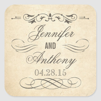 Vintage Shabby and Chic Wedding Square Sticker