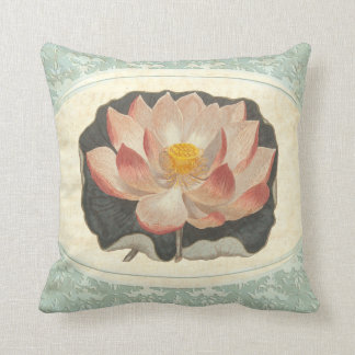 Vintage Shabby Botanical Peach Lotus Blossom Yoga Throw Pillow