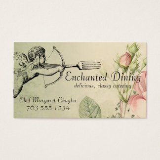 Vintage shabby chic cupid fork arrow chef biz card