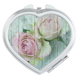 Vintage Shabby Chic Elegant Pink Roses Travel Mirrors