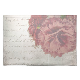 Vintage Shabby Chic Faded Rose & Antique Script Placemat