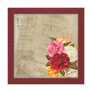 Vintage Shabby Chic Floral Fairy Soap Advert Canvas Print