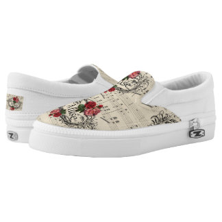 Vintage  Shabby Chic Floral Sheet Music Notes Muse Slip-On Sneakers